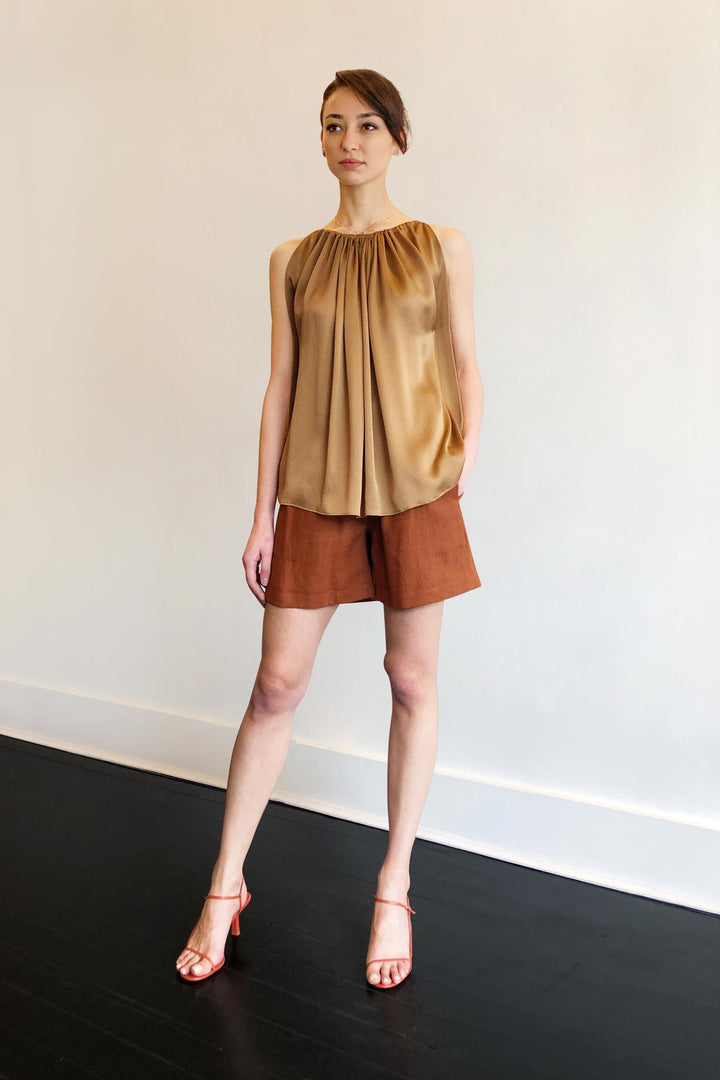Fashion Designer CARL KAPP collection | Mila Onesize Fits All cocktail Silk Top Gold | Sydney Australia