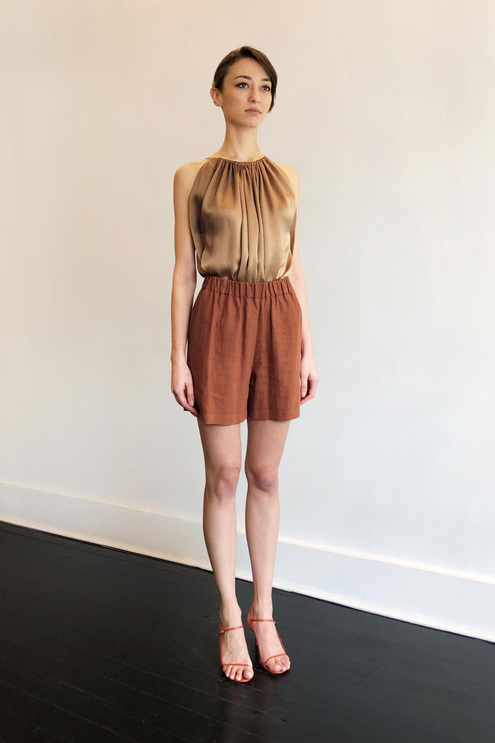 Fashion Designer CARL KAPP collection | Nano Brown Copper Linen Shorts | Sydney Australia