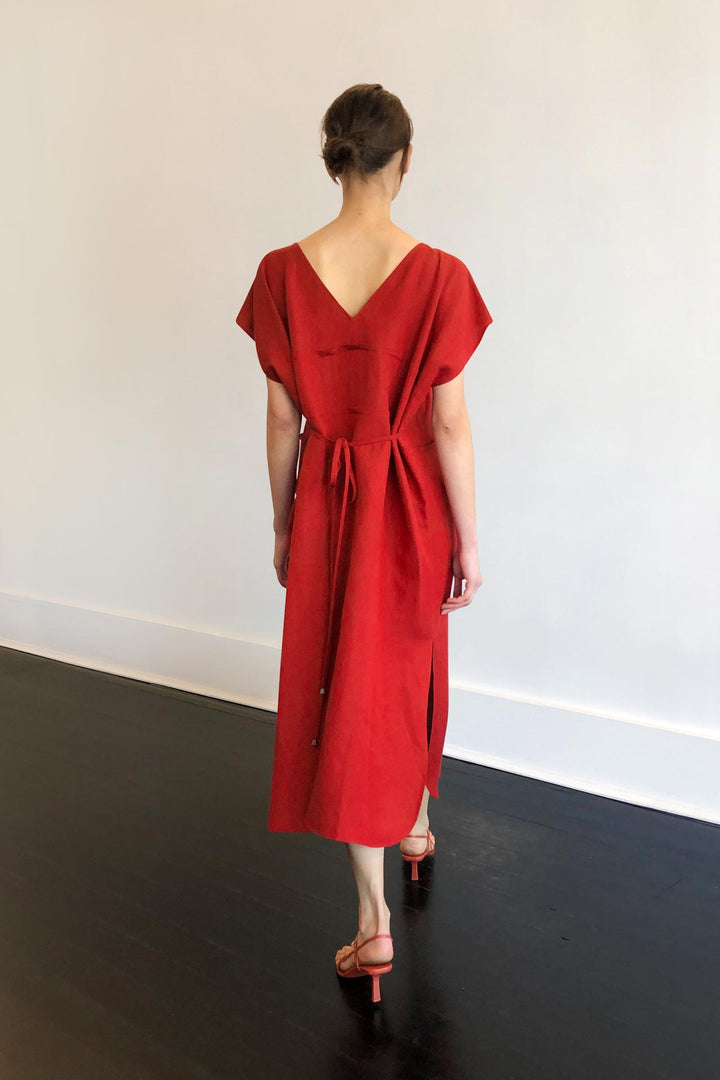 Fashion Designer CARL KAPP collection | Mona Onesize Fits All Red Linen dress | Sydney Australia