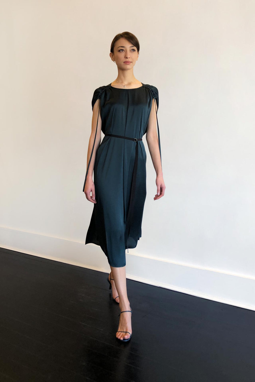 Fashion Designer CARL KAPP collection | Ocean Onesize Fits All cocktail dress Dark Green | Sydney Australia