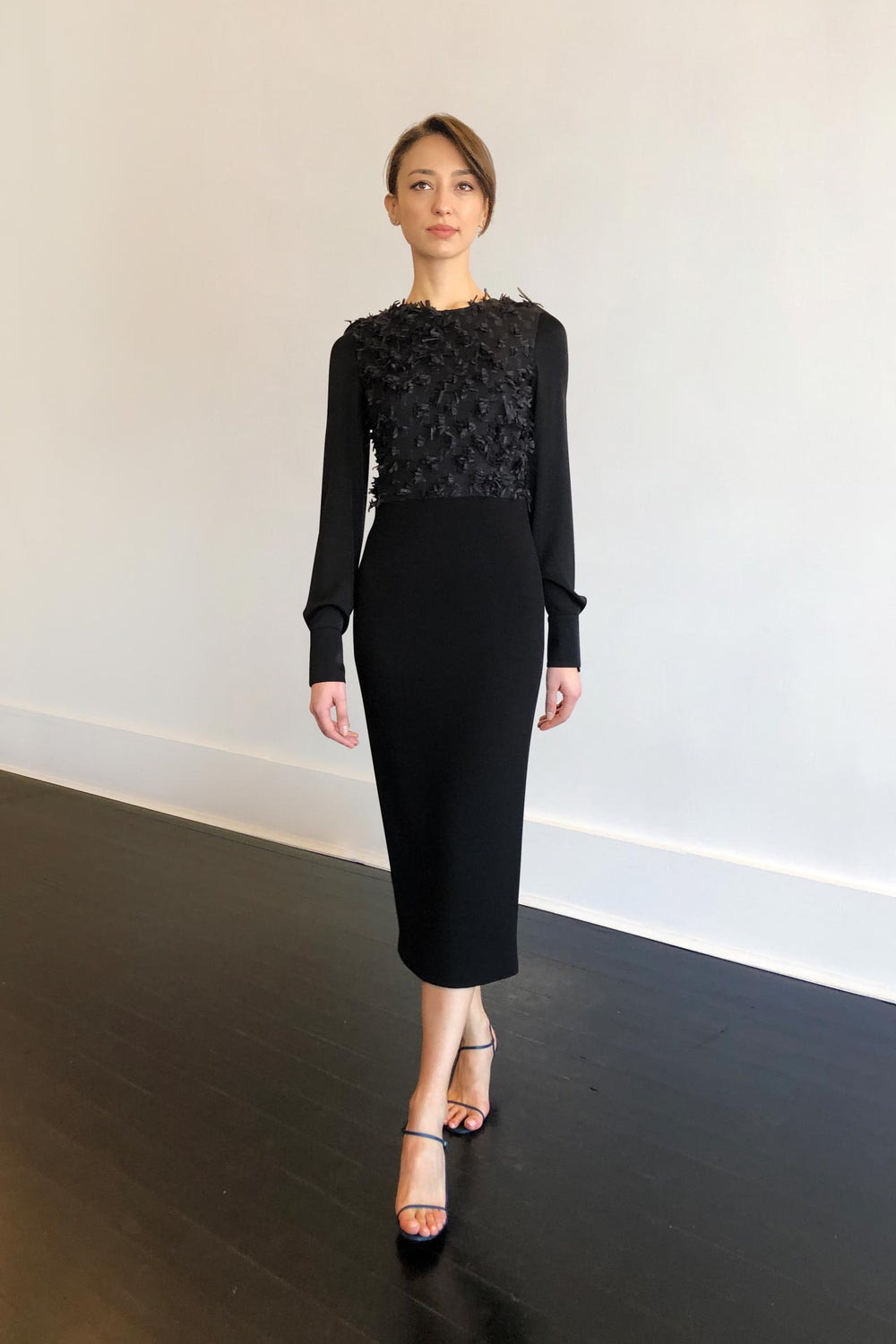 Fashion Designer CARL KAPP collection | Onyx structured cocktail dress with sleeves Black | Sydney Australia