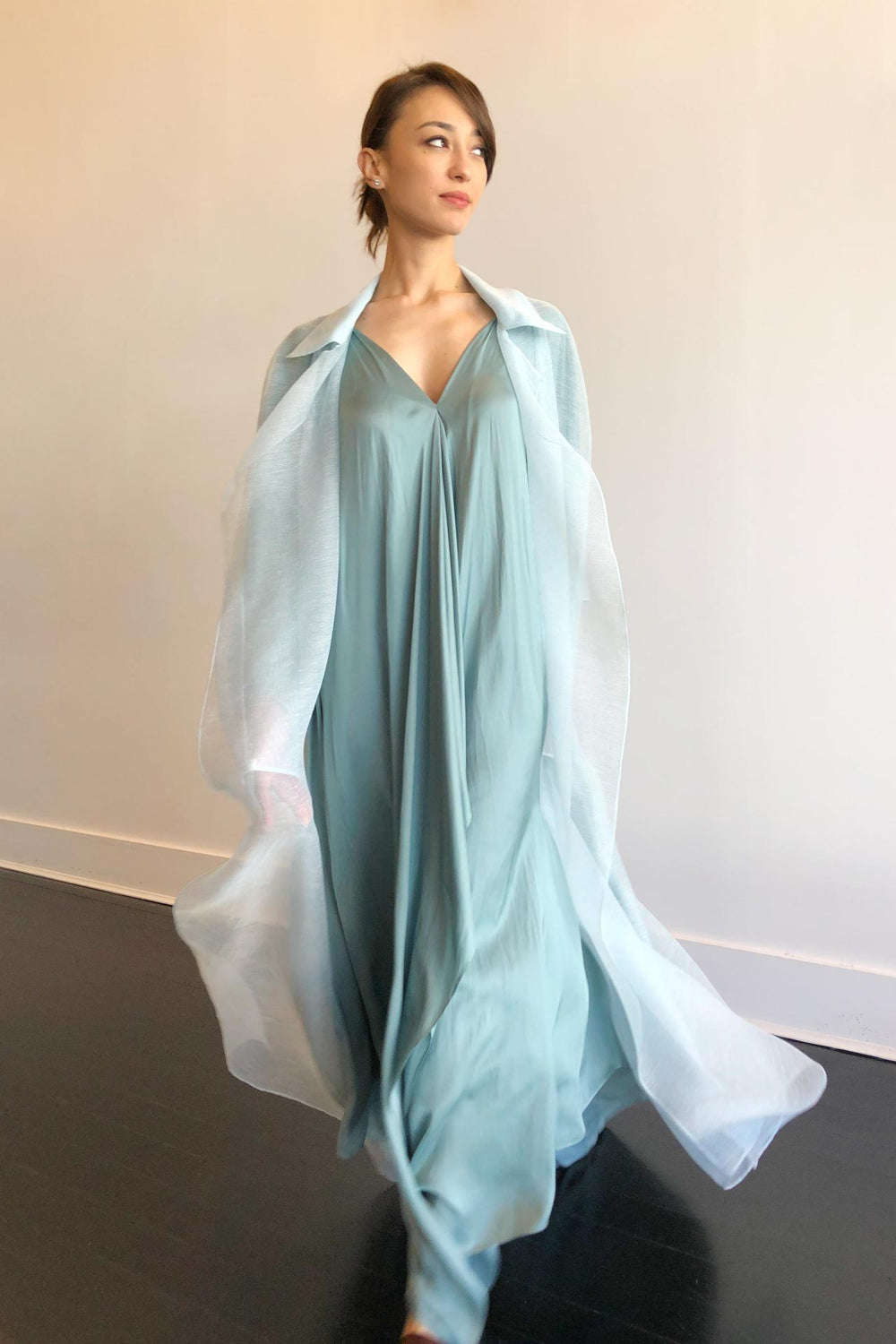 Fashion Designer CARL KAPP collection | Paradise Organza Pale Blue Trench for Formal, cocktail | Sydney Australia