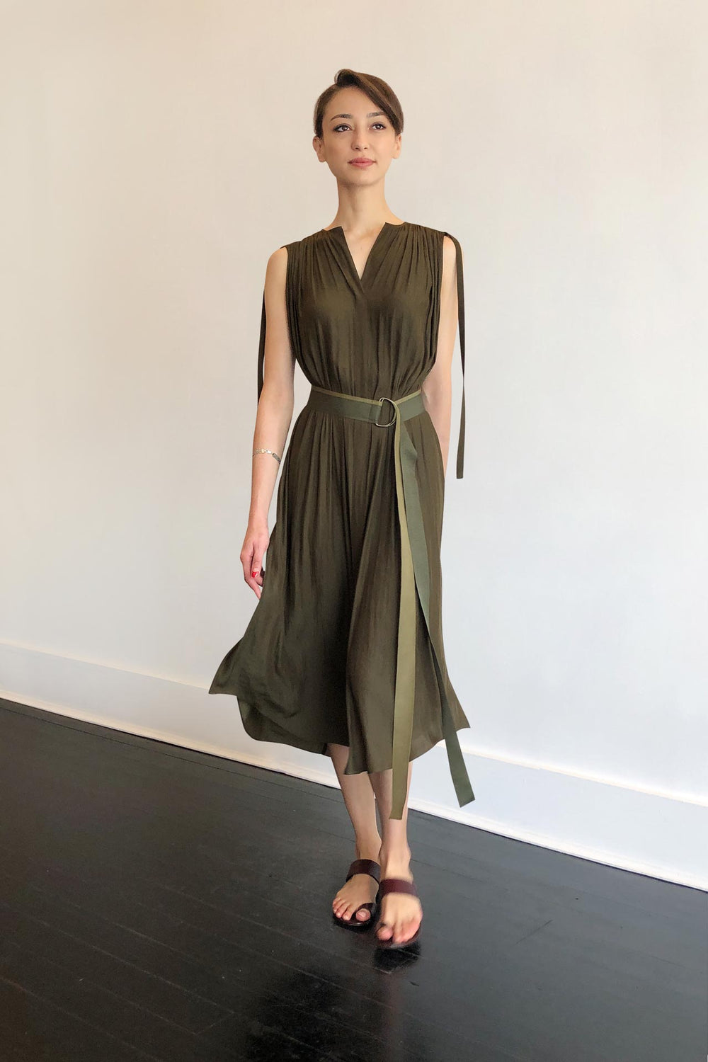 Fashion Designer CARL KAPP collection | Patatran Onesize Fits All cocktail dress Khaki | Sydney Australia