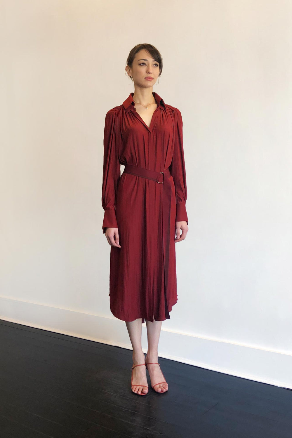 Fashion Designer CARL KAPP collection | Pheasant Onesize Fits All cocktail dress with sleeves Red | Sydney Australia