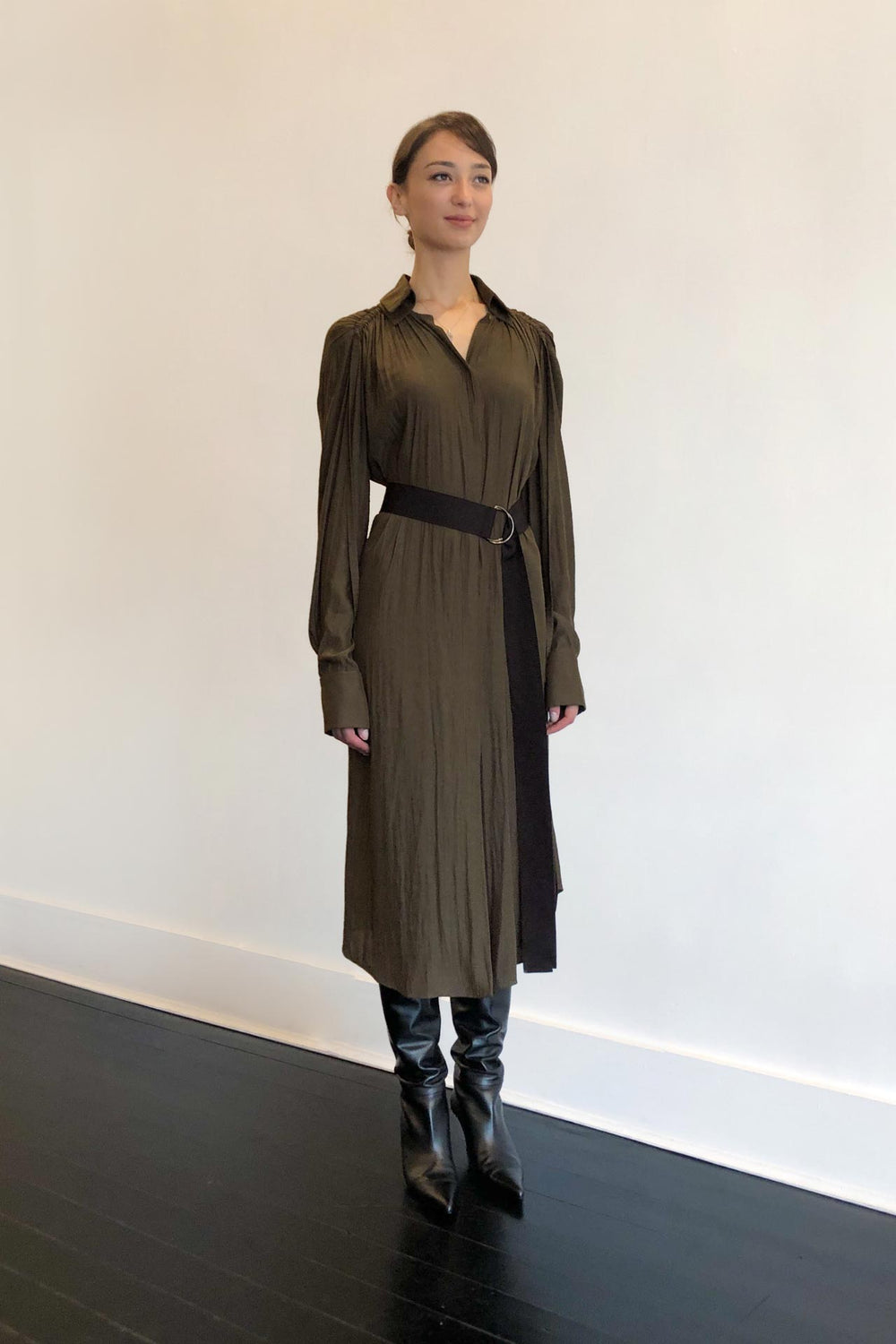 Fashion Designer CARL KAPP collection | Pheasant Onesize Fits All cocktail dress with sleeves Khaki | Sydney Australia