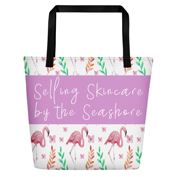 Live Laugh Wear Sunscreen Flamingo Tote Skincare Consultant Beach Tote - BrandLove101