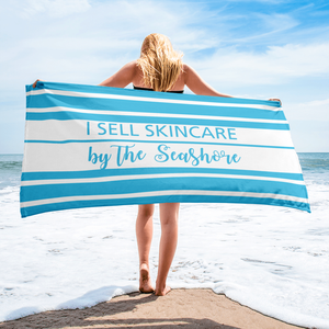 I Sell Skincare by the Seashore  Blue and White Striped  Beach Towel - BrandLove101