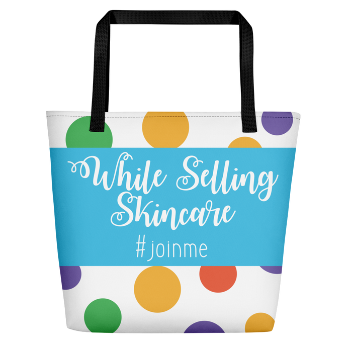 Polka Dot Beach Tote Skincare Consultant Creating and Empire while Selling Skinare - BrandLove101