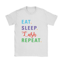 Load image into Gallery viewer, Eat Sleep Lash Repeat Scoop Neck Shirt with RF Colored Text  - More Colors! - BrandLove101
