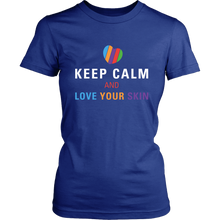 Load image into Gallery viewer, Keep Calm and Love Your Skin Short Sleeve Tee T Shirt Top - White Decal - BrandLove101