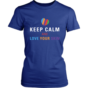 Keep Calm and Love Your Skin Short Sleeve Tee T Shirt Top - White Decal - BrandLove101
