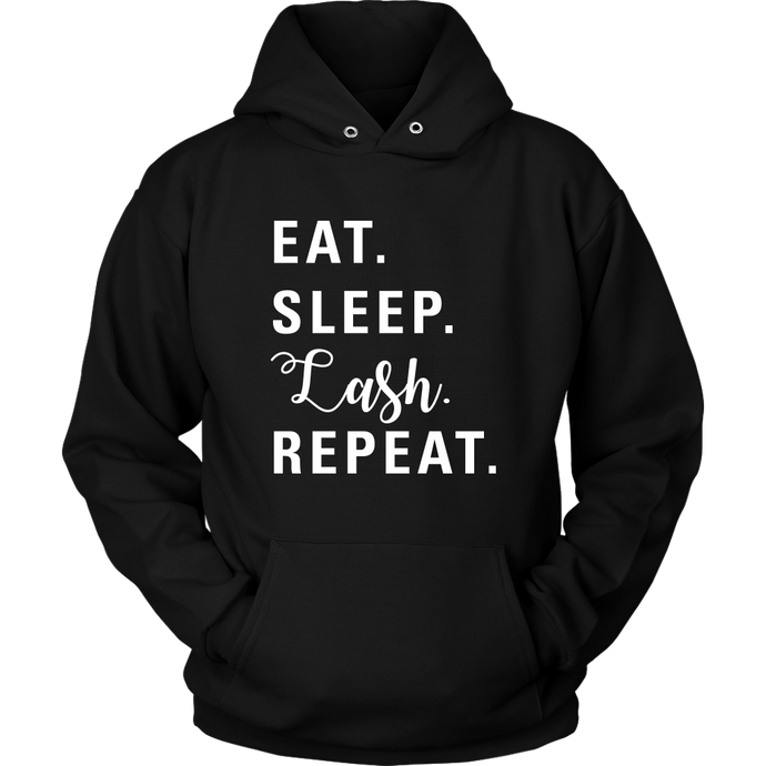 Eat Sleep Lash Repeat Hoodie with White Text - More Colors! - BrandLove101