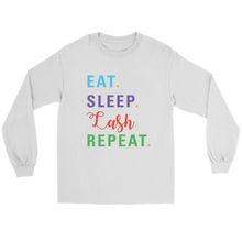 Load image into Gallery viewer, Eat Sleep Lash Repeat Long Sleeved Tee with RF Colored Text  - More Colors! - BrandLove101