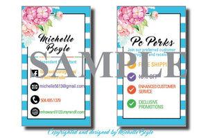 Business Card Design Blue Striped - Personalized - Digital File Only - BrandLove101