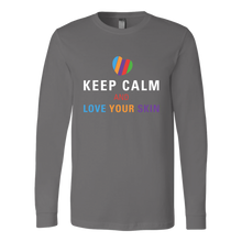 Load image into Gallery viewer, Keep Calm and Love Your Skin Long Sleeve Tee T Shirt Top - White Decal - BrandLove101