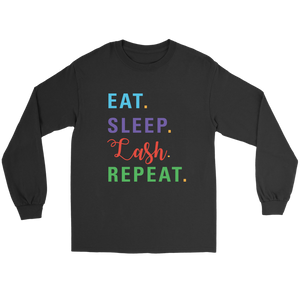 Eat Sleep Lash Repeat Long Sleeved Tee with RF Colored Text  - More Colors! - BrandLove101