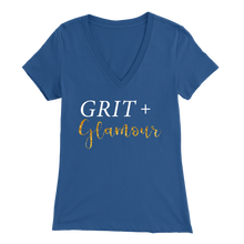 Load image into Gallery viewer, Grit and Glamour V Neck - White Text - BrandLove101