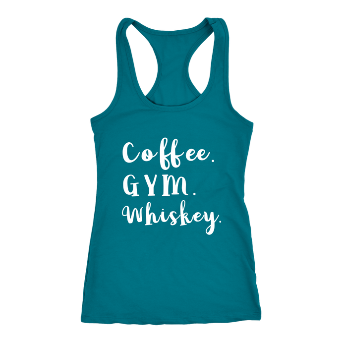 Coffee Gym Whiskey Racerback Womens Tank Top - 10 Colors - BrandLove101