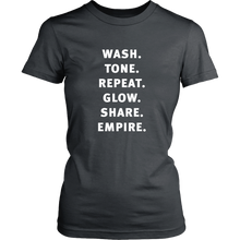 Load image into Gallery viewer, Wash Tone Repeat Build Empire Boss Babe T Shirt - White Decal- Other Colors - BrandLove101