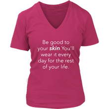 Load image into Gallery viewer, Be Good To Your Skin V Neck Womens Top - BrandLove101