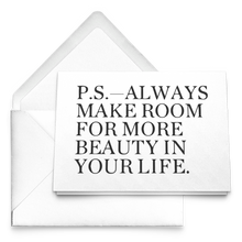 Load image into Gallery viewer, P.S. Always Make Room For More Beauty Note Cards with Envelopes - BrandLove101