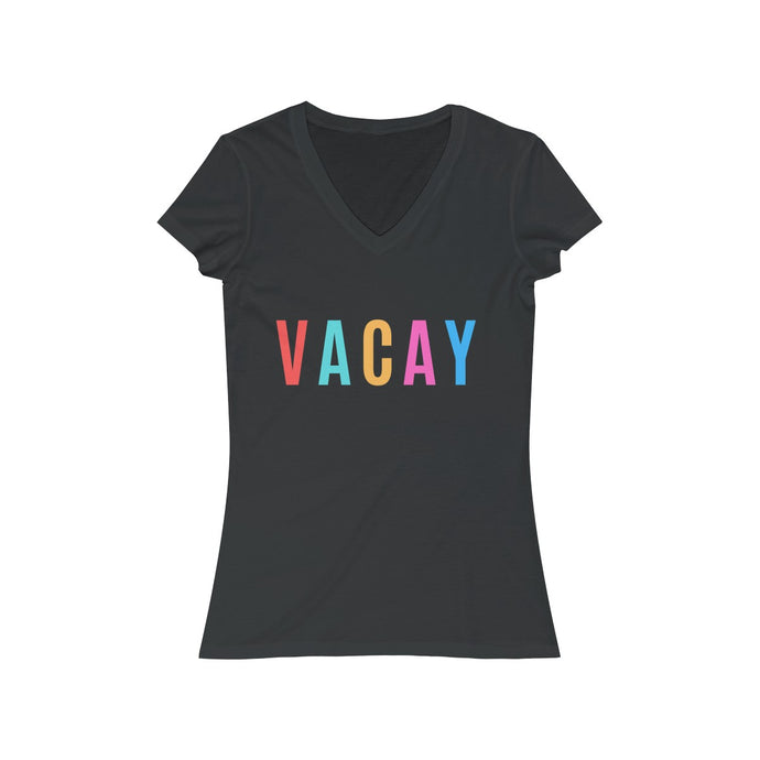 VACAY Graphic Women's Jersey Short Sleeve V-Neck Tee