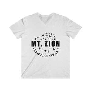 Mt Zion Nola Men's Fitted V-Neck Short Sleeve Tee - 2 Colors, Black Text - BrandLove101