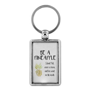 Be a Pineapple and Stand Tall Keychain Motivational - BrandLove101