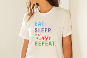 Eat Sleep Lash Repeat Scoop Neck Shirt with RF Colored Text  - More Colors! - BrandLove101