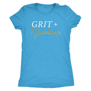 Grit and Glamour Tri Blend Scoop Neck - White Text - BrandLove101