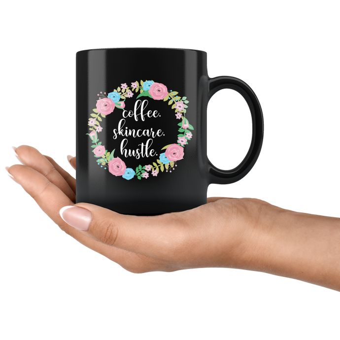 Coffee Skincare Hustle CEO Boss Babe Black Mug - 11 oz - BrandLove101