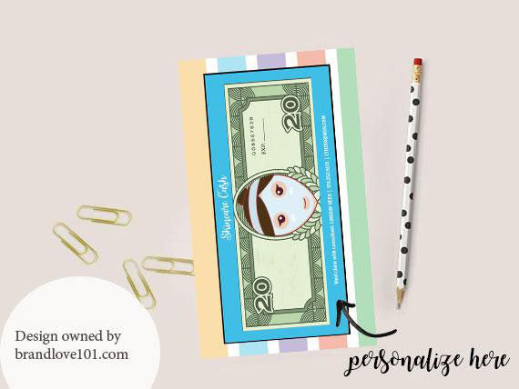 Skincare Cash $20 Notepad Gift Cards to Hand Out to PC'S - Brown Hair - BrandLove101