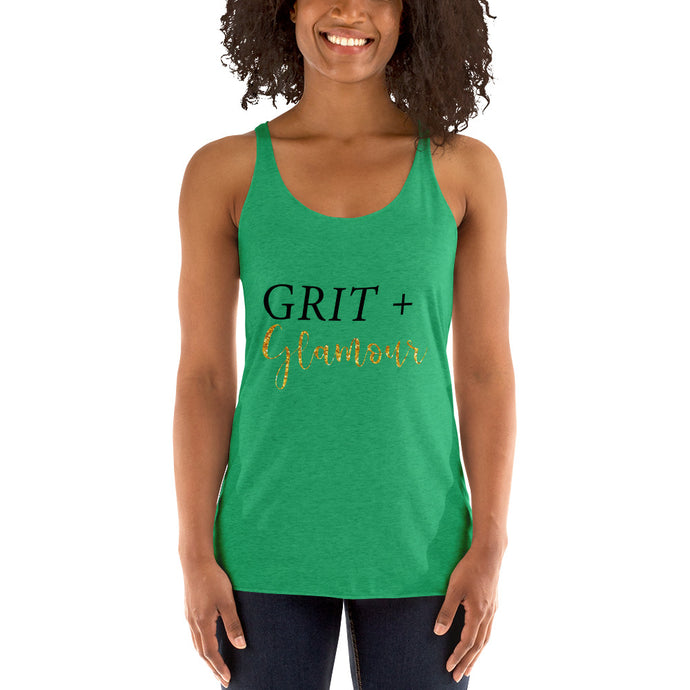 Women's Racerback Tank Tri Blend Grit and Glamour
