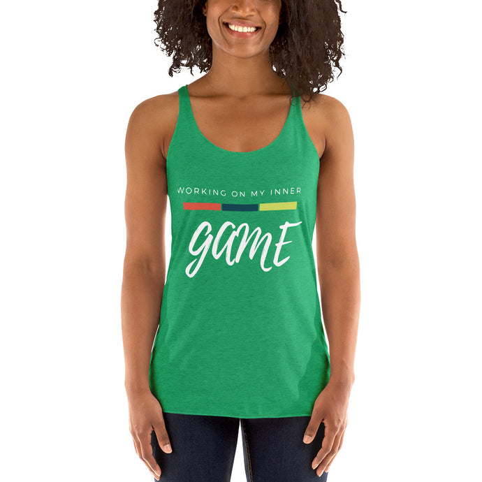 Working on My Inner Game Tri Blend Women's Racerback Tank
