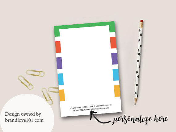 Striped Skincare Consultants Customizable Notepad + Digital File - BrandLove101