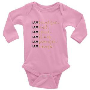 I Am All Things Beautiful Long Sleeve Baby Bodysuit - 3 Colors - BrandLove101