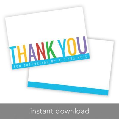Instant Download – Thank you Card – 4″ x 6″ – Blue Bottom - BrandLove101