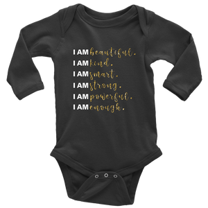 I Am All Things Beautiful Long Sleeve Baby Bodysuit - BrandLove101