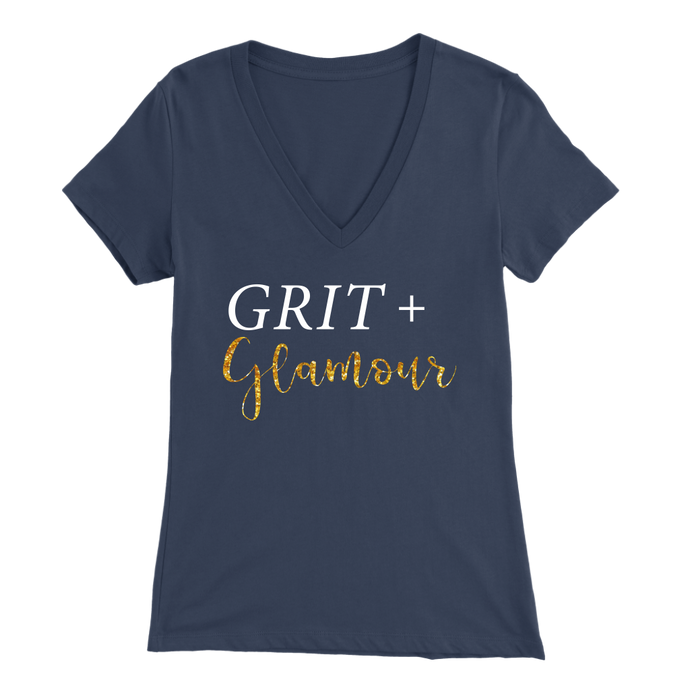 Grit and Glamour V Neck - White Text - BrandLove101
