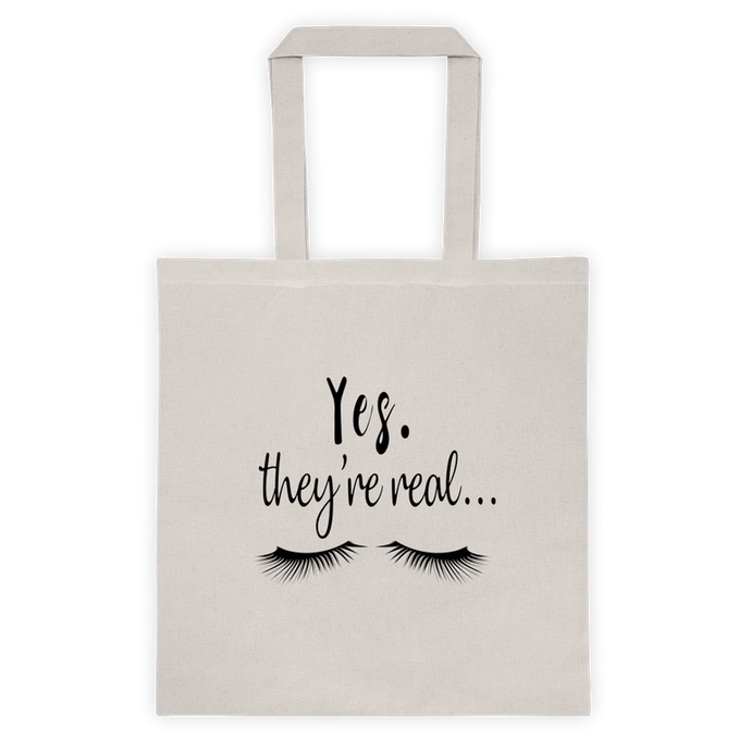 Yes They're Real Lashes Tote Bag Skincare - BrandLove101