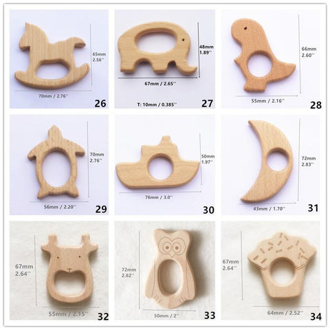 Baby's Teether Ring 50pcs/lot Wood DIY Organic Eco-friendly Unfinished Nature Grasping Sensory Toy