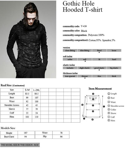 Men's T-shirt Punk Rave Casual Rock Gothic Long Sleeve