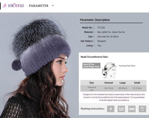Women's Hat Rex Rabbit Fur Fox Pom Poms Knitted Casual for Winter