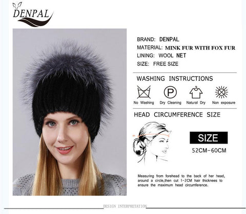 Women's Hat Real Natural Mink Fox Fur Hanging Chain Back Balls