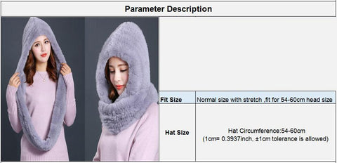 Women's Hooded Scarf Knitted Real Rex Rabbit Fur Warm Natural for Winter