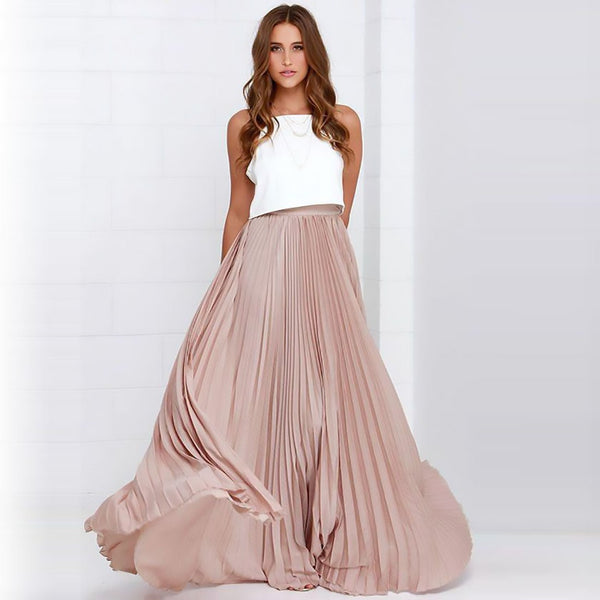 Women's Skirt Pleated Chiffon Long Floor Length Zipper Style