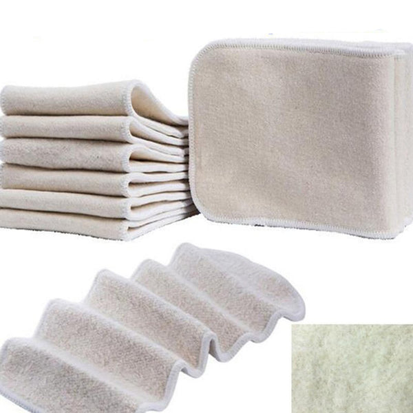 Unisex Baby's Cloth Diapers 10 pcs/set 14x35cm 4 Layers Natural Ecological Organic Cotton Hemp Inserts