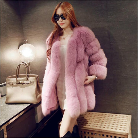 Women's Coat Long Faux Fox Fur for Winter