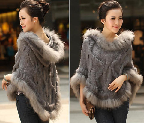 Women's Poncho Real Rabbit Fur Raccoon Trimming Knitted