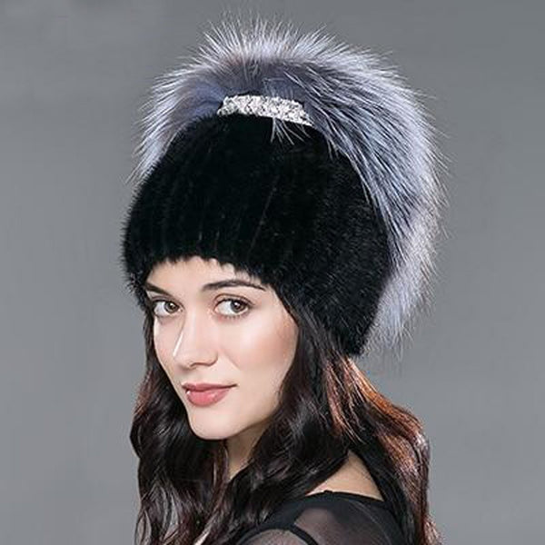 Women's Hat Mink Fur Knitted Real Fox Russian Warm for Winter